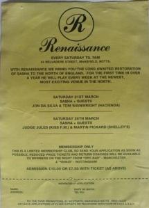 Primeiro flyer da Renaissance